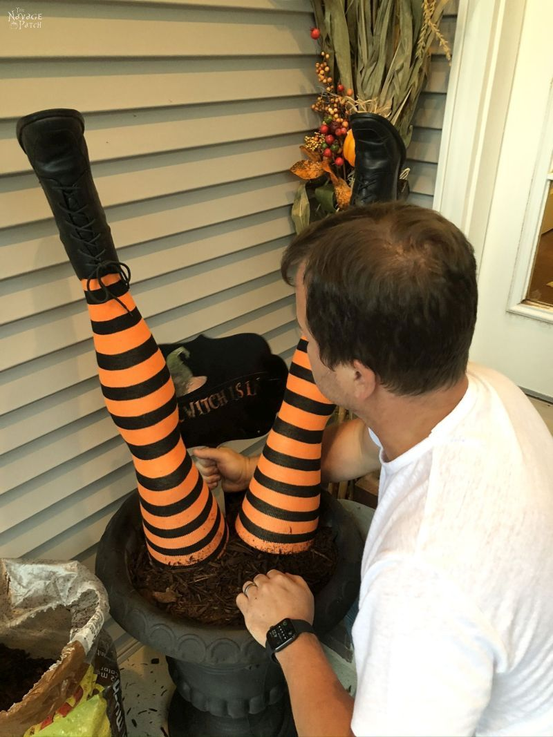 making a diy witch legs