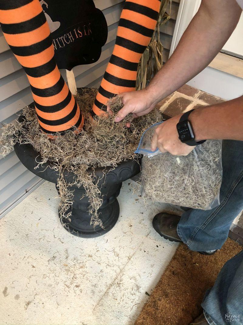 adding spanish moss to diy witch legs