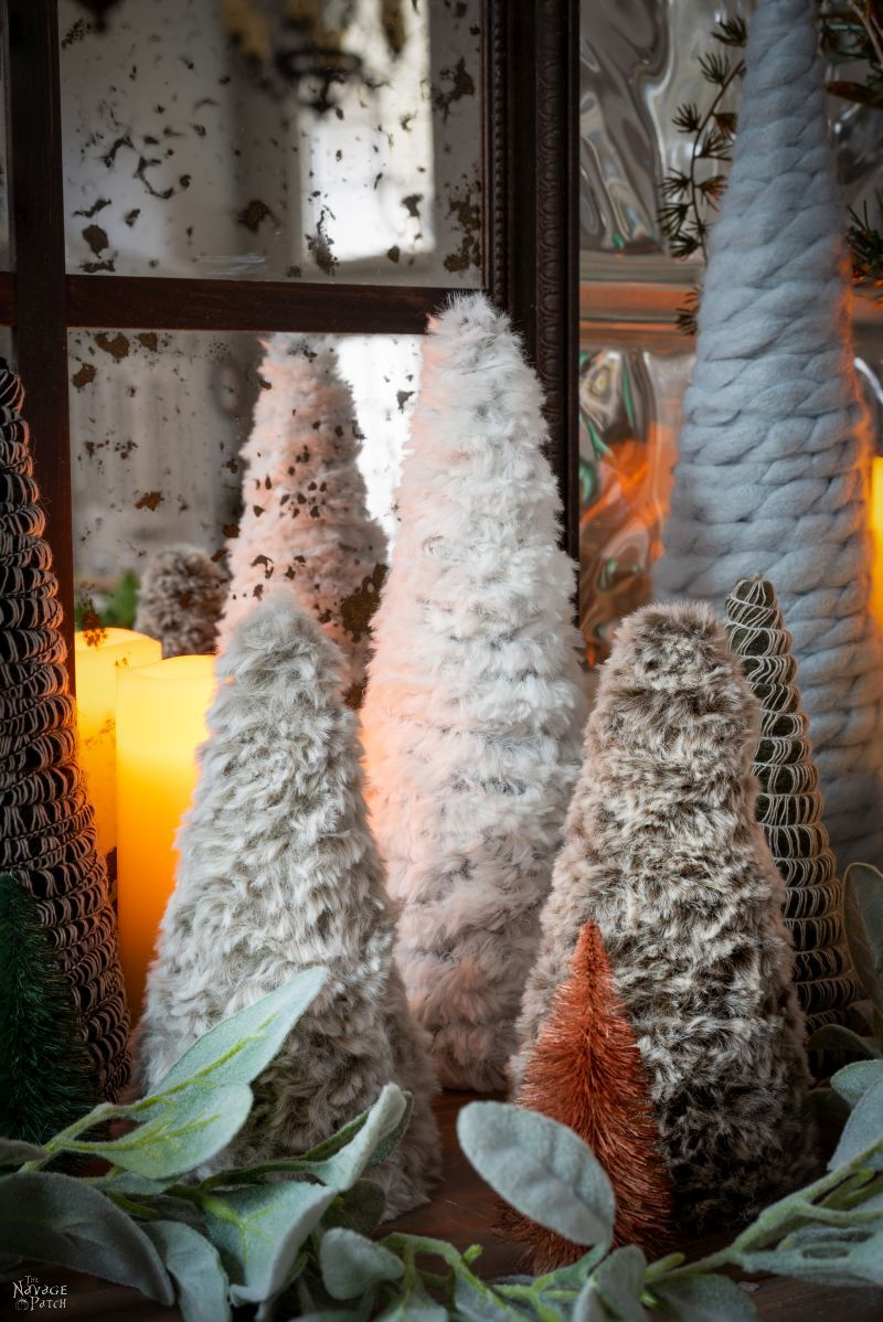 DIY Faux Fur Trees in a Christmas Display