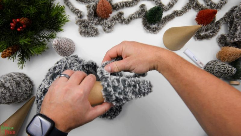 wrapping faux fur yarn around a cone form