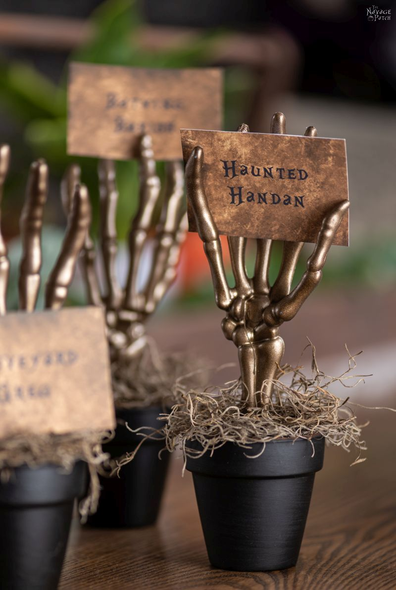 diy skeleton place card holders