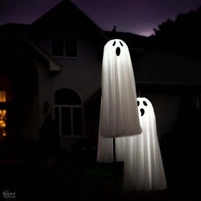 DIY Lighted Hanging Ghosts