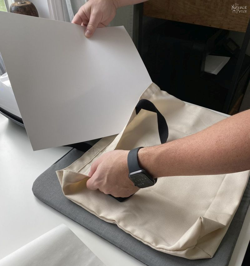 preparing a tote bag for heat transfer