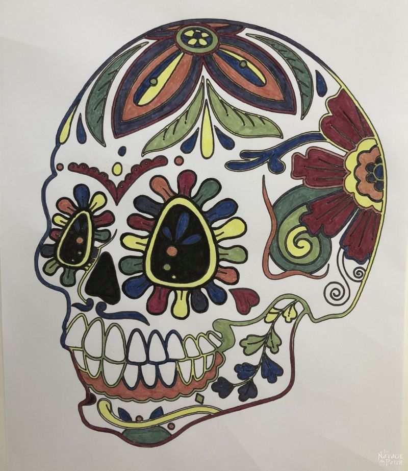 adult coloring a sugar skull