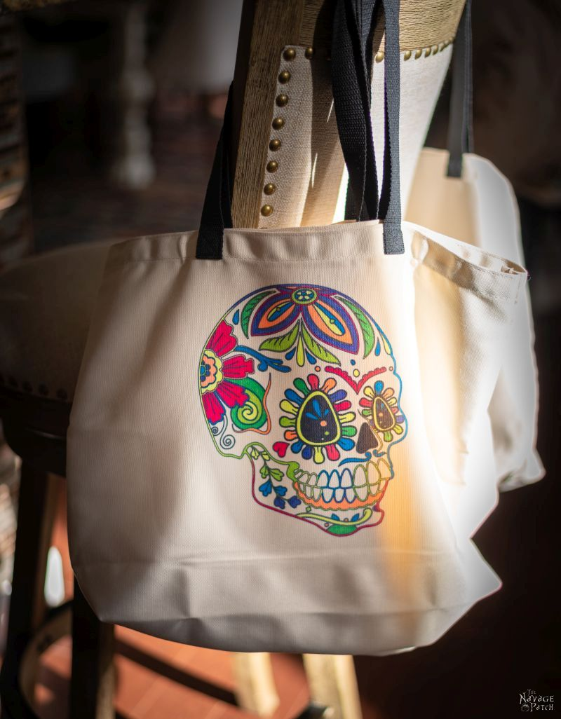 infusible ink sugar skull tote bag design