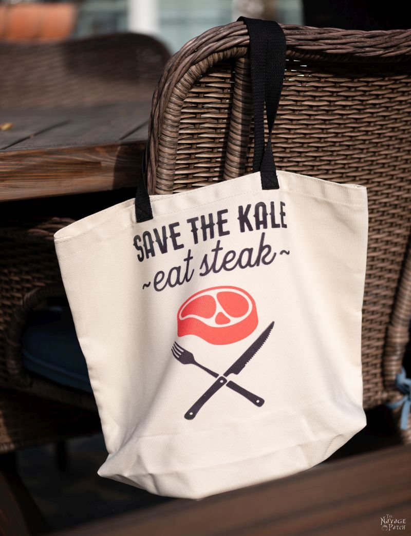 save the kale eat steak tote bag design