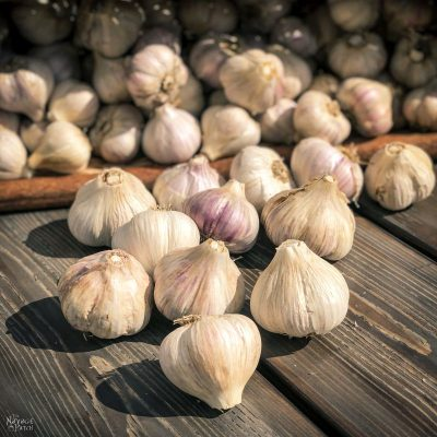 garlic bulbs on a table