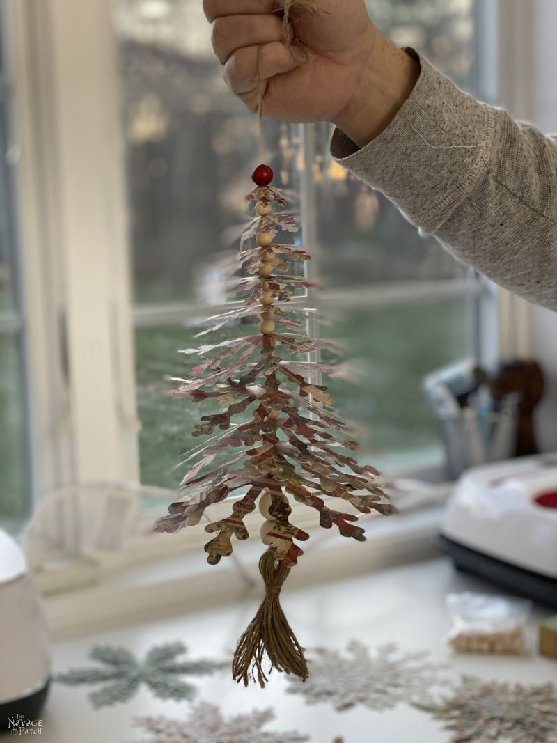 hanging paper snowflake tree