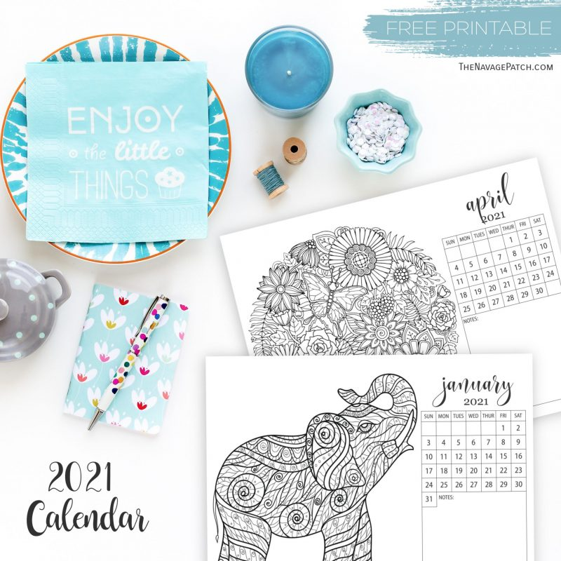 Free Printable Adult Coloring Calendars For 2021 - The Navage Patch