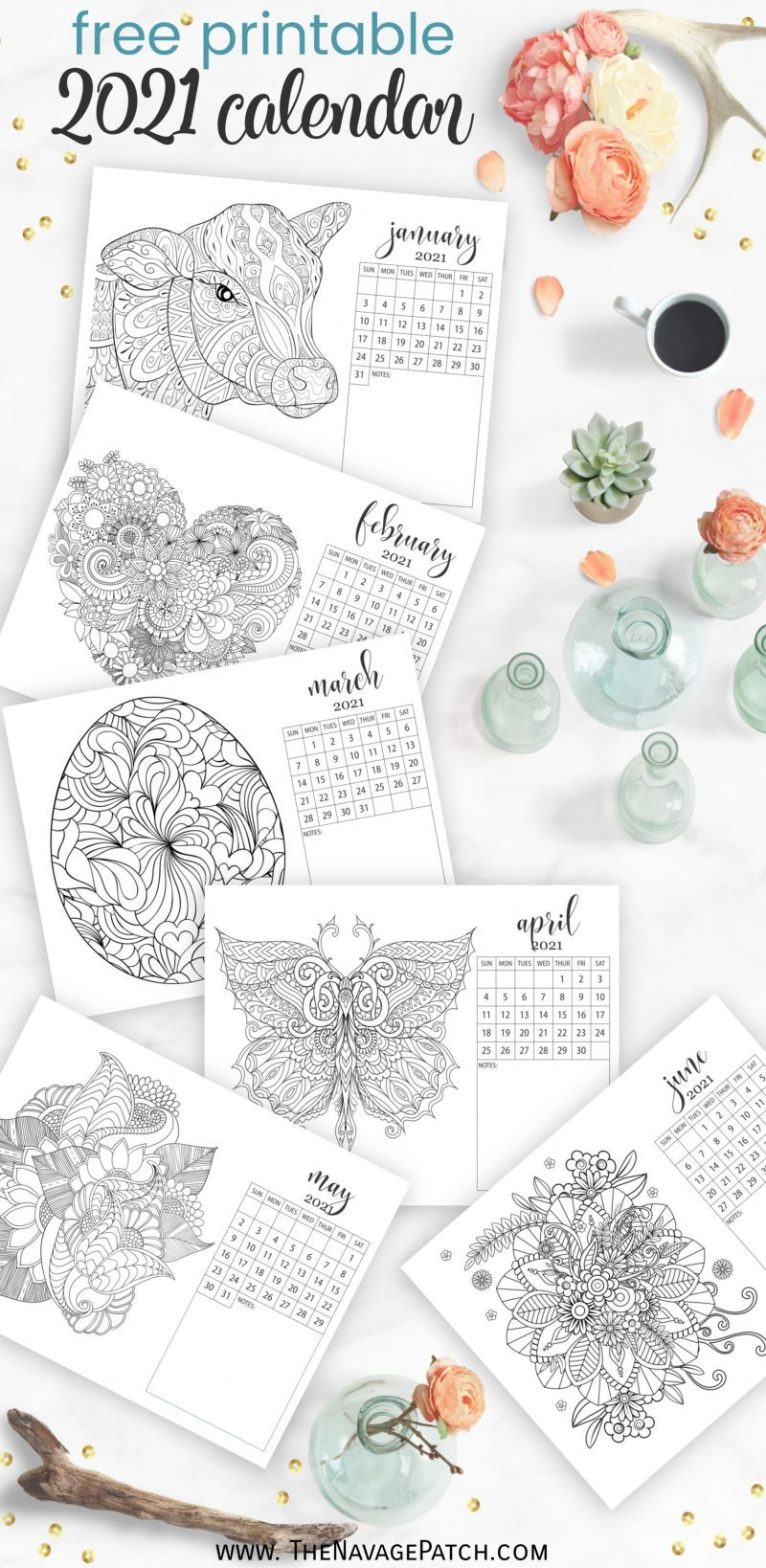 Free Printable Adult Coloring Page Calendar by TheNavagePatch.com
