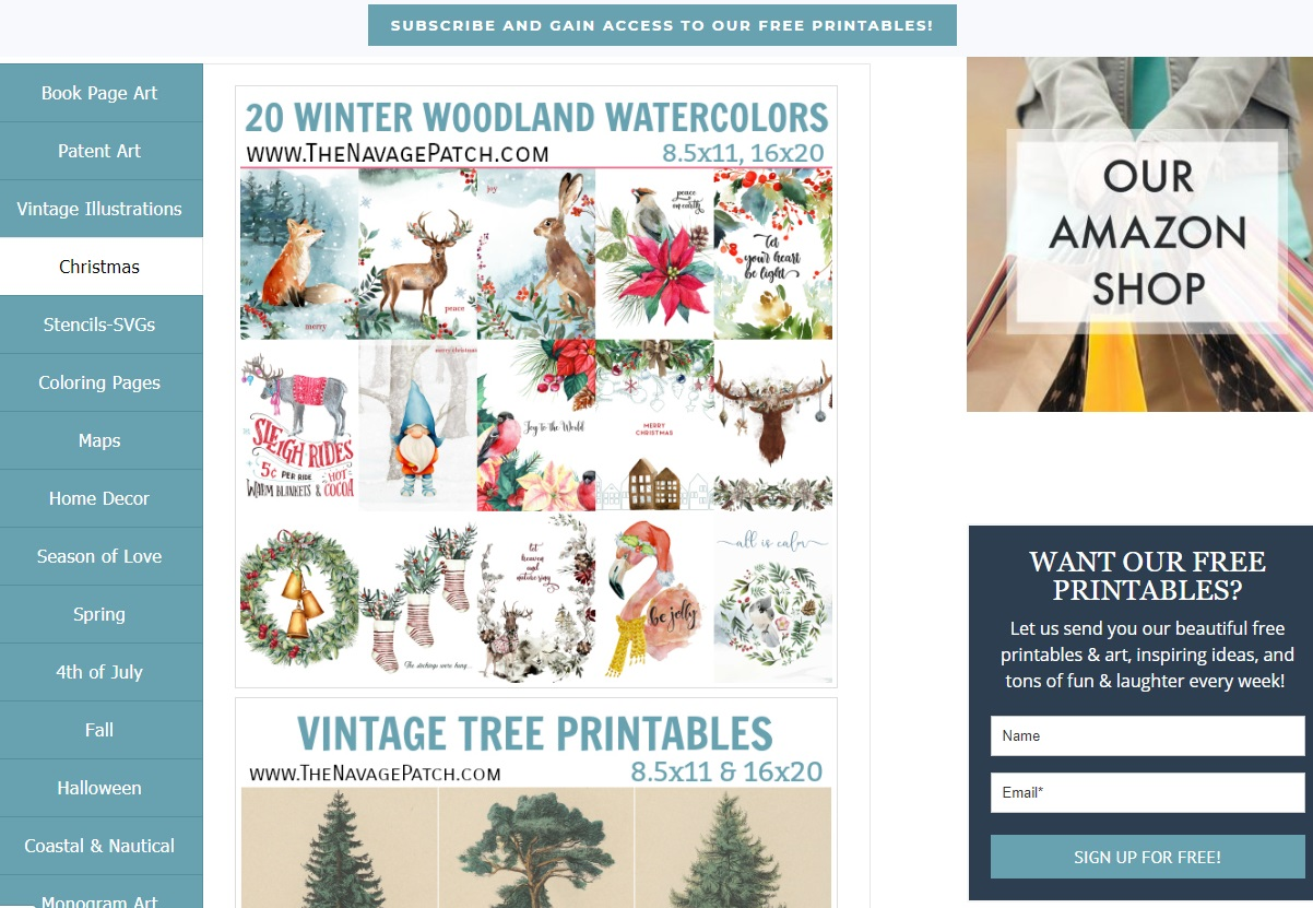 20 winter woodland watercolor printables