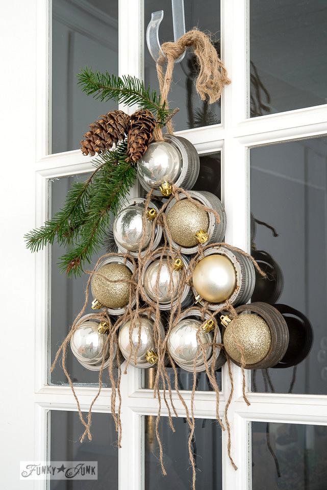 DIY Christmas Wreath Ideas by TheNavagePatch.com - Mason Jar Lid Ornament Tree Wreath