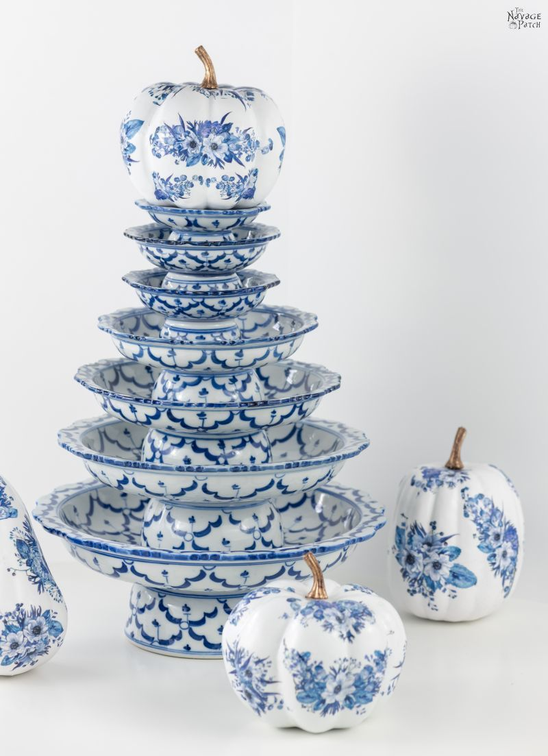 DIY Dollar Store Blue and White Porcelain Pumpkins
