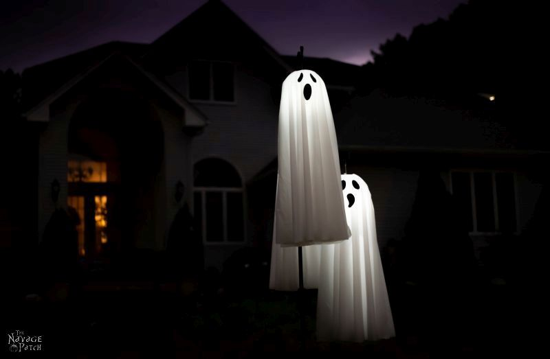 easy diy lighted hanging ghosts