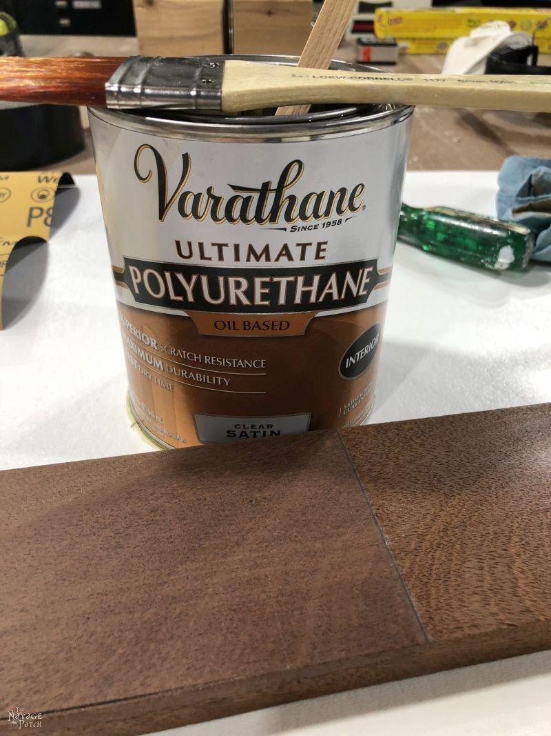 can satin polyurethane next to a mahogany board