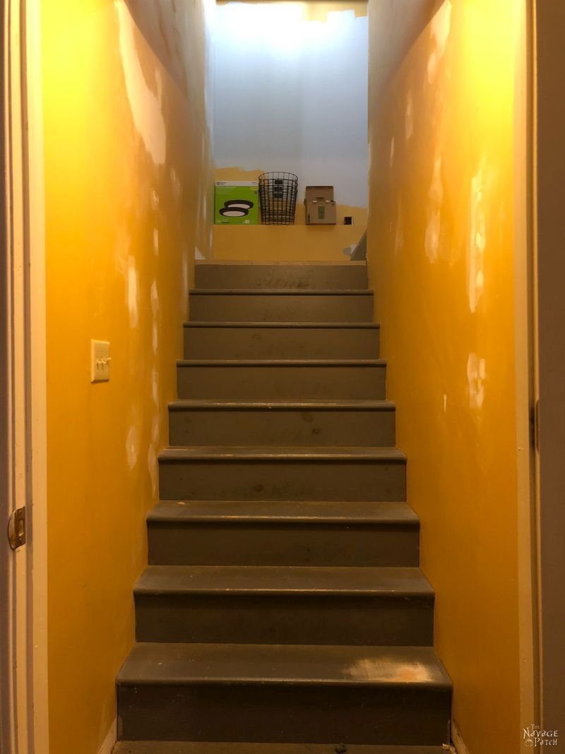 basement stairs before painting