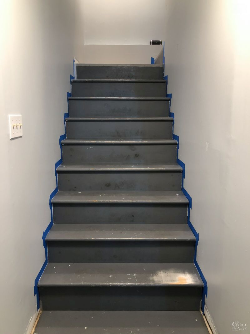basement stairs waiting to be painted