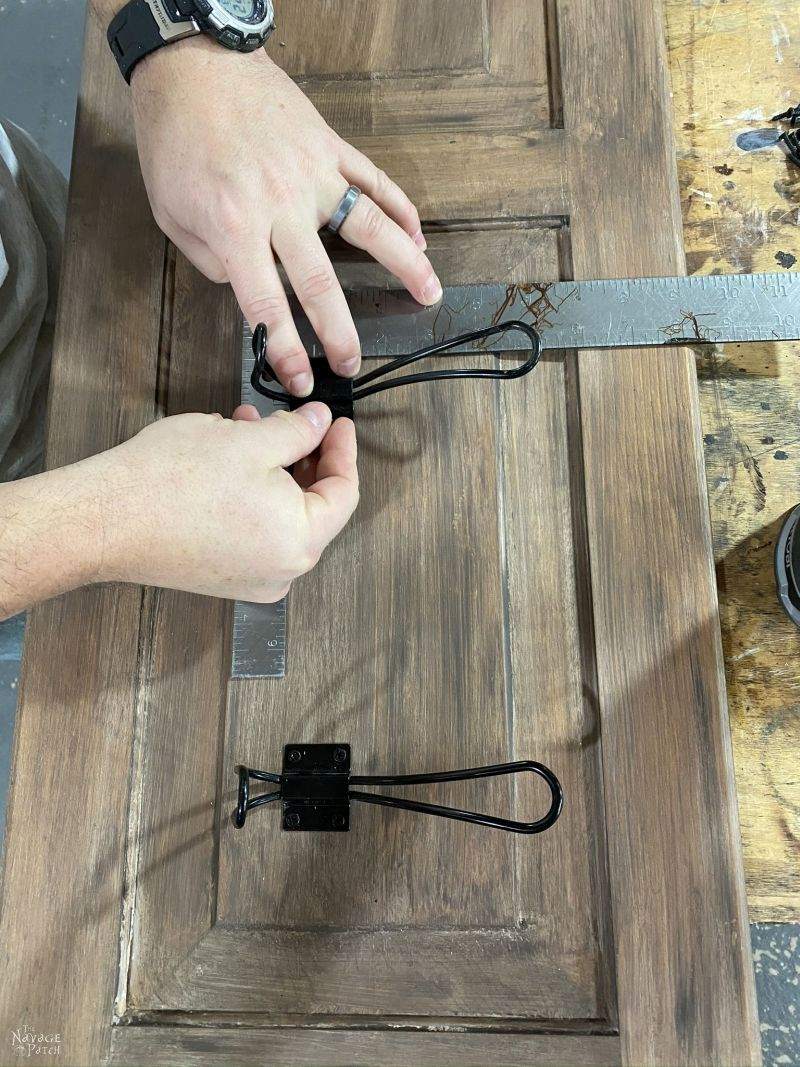 installing hooks to an upcycled coat rack