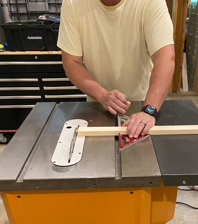 cutting lumber on a table saw