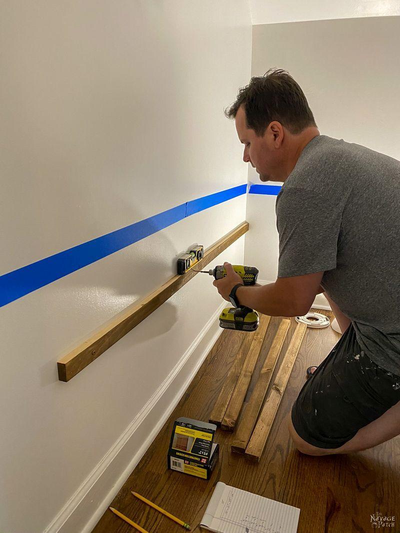 installing braces for diy pantry shelves