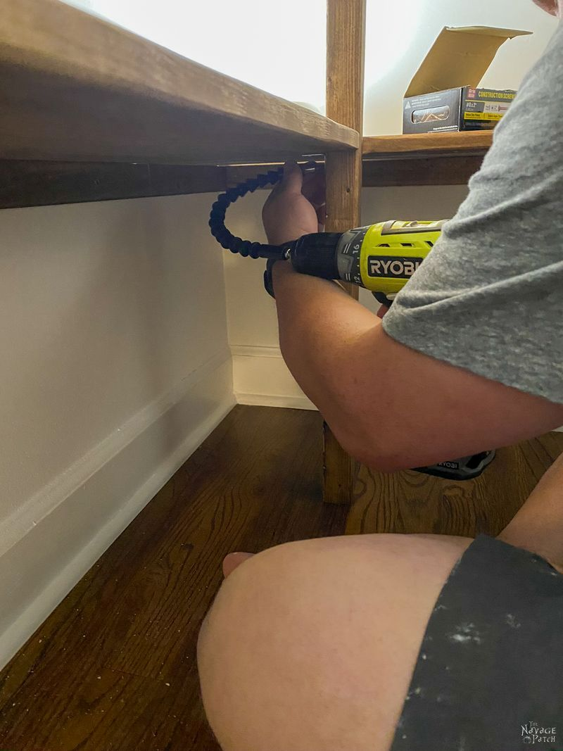 adding support legs to diy pantry shelves