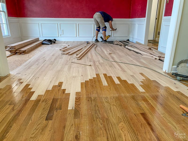 feathering a new hardwood floor into an existing one