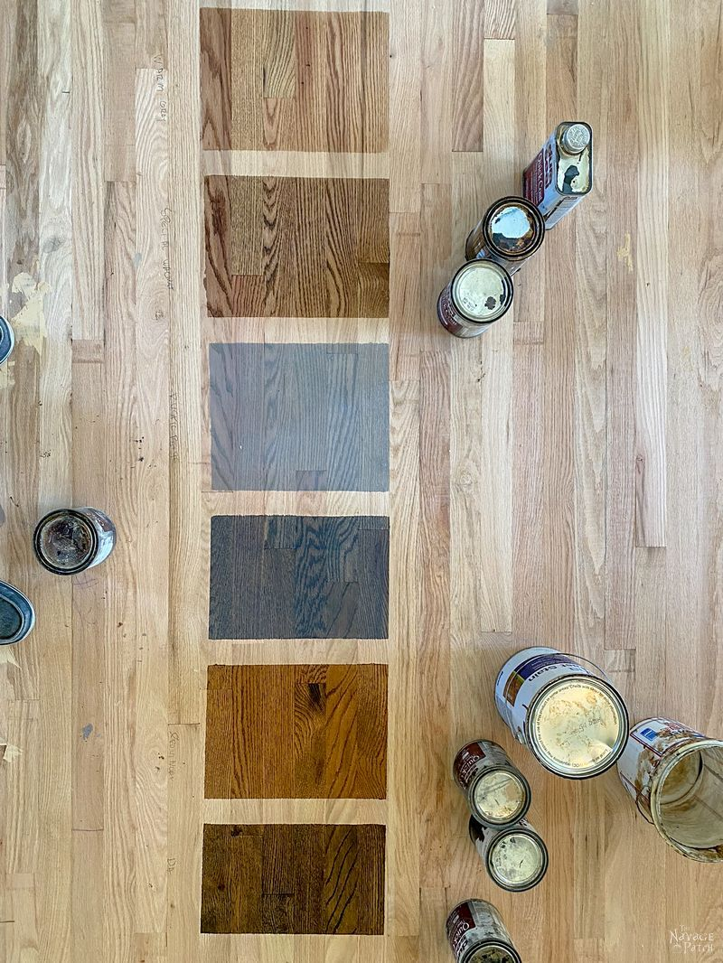 stain samples on a hardwood floor
