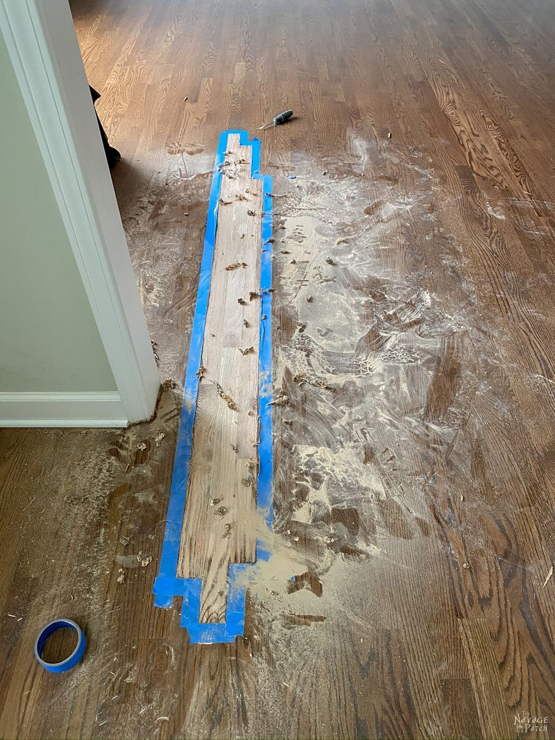 fixing a flawed area in a hardwood floor