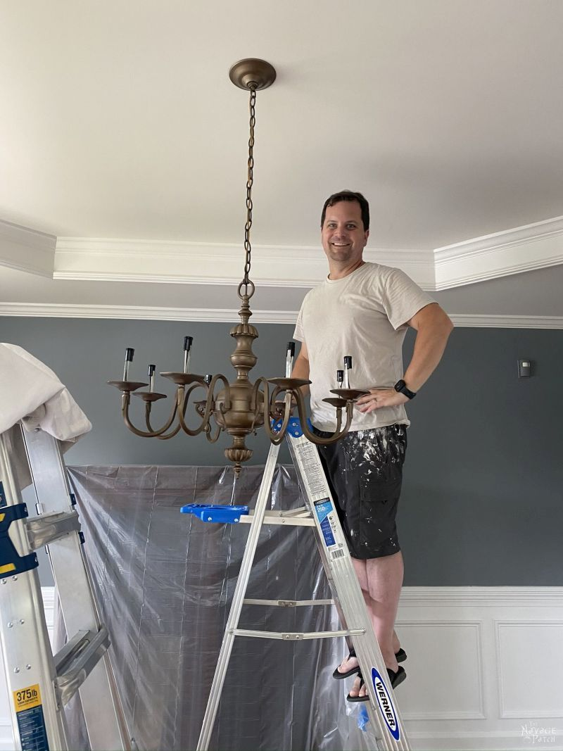 hanging a spray painted chandelier
