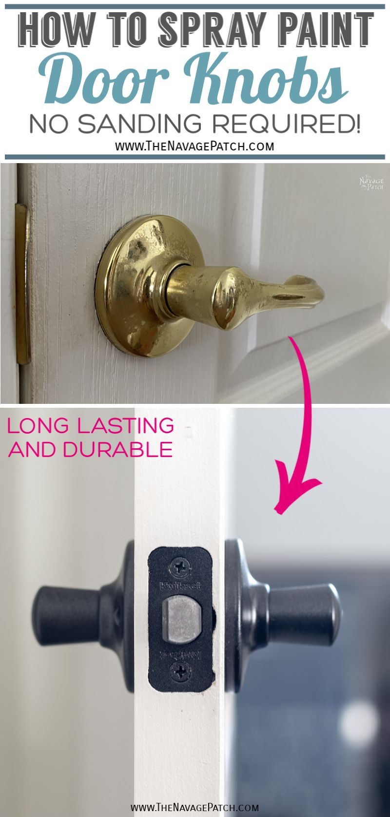 How to Spray Paint Door Knobs Without Sanding - TheNavagePatch.com