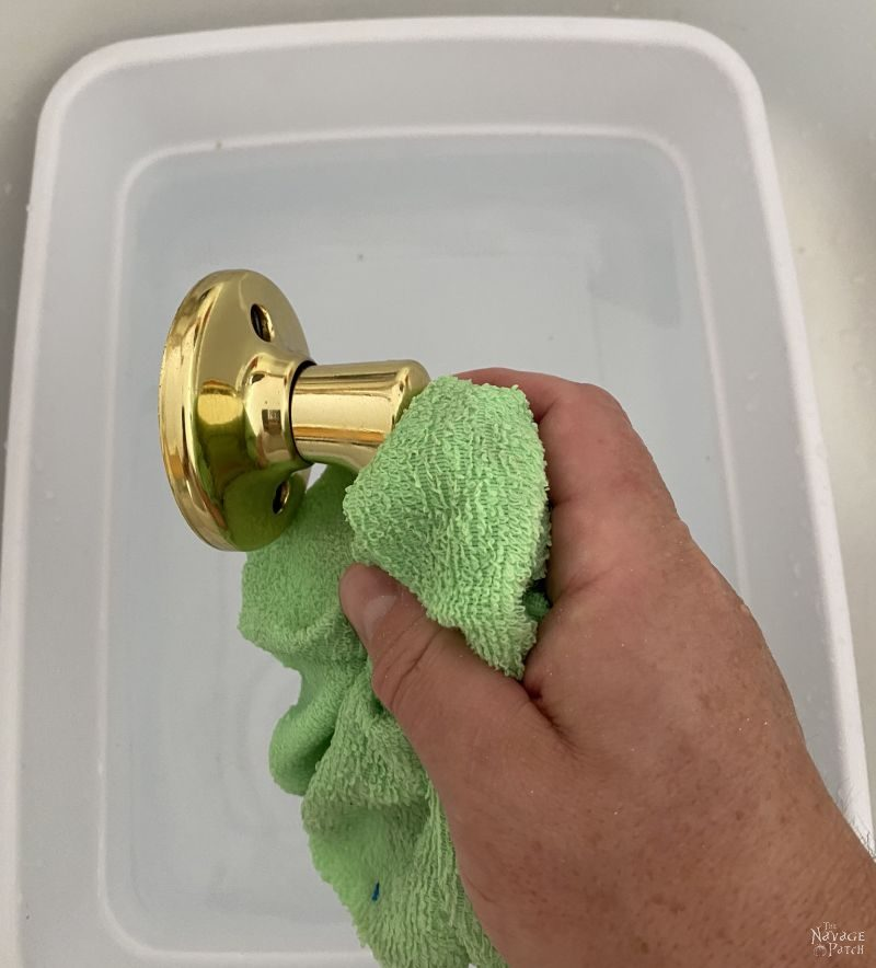 cleaning a door handle with TSP