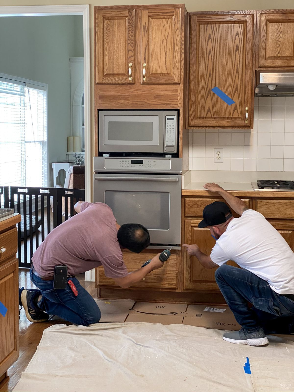 removing an oven during a kitchen demolition
