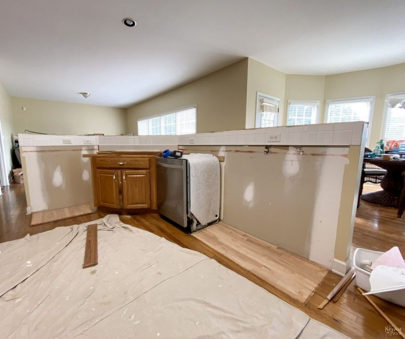 kitchen island with removed counters and cabinets