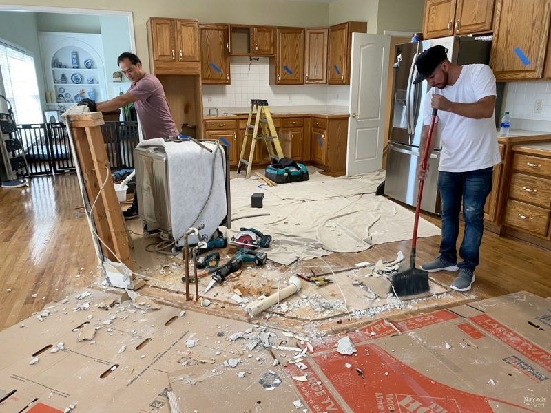 construction waste while demolishing a kitchen