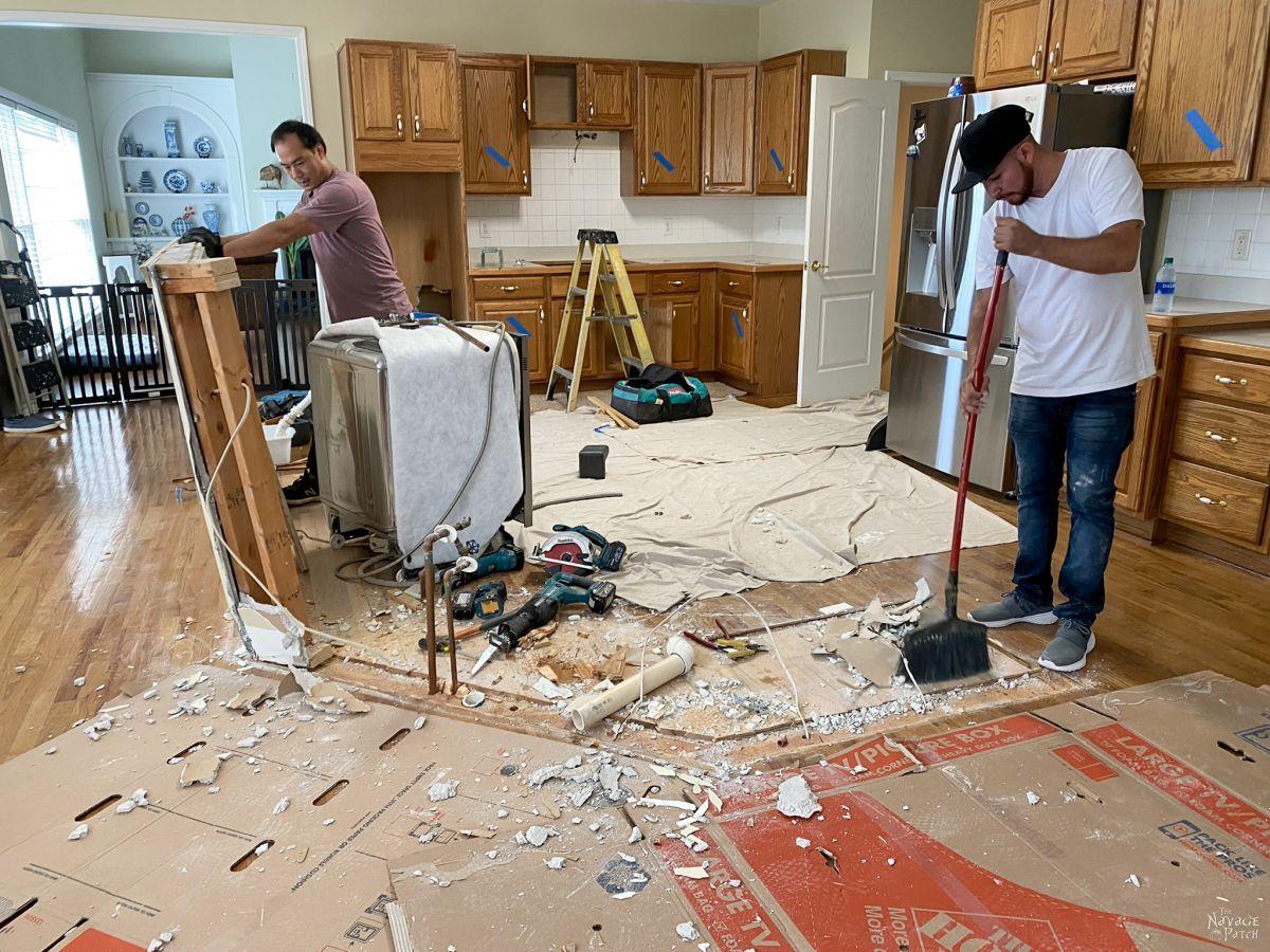 construction waste while demolishing a kitchen