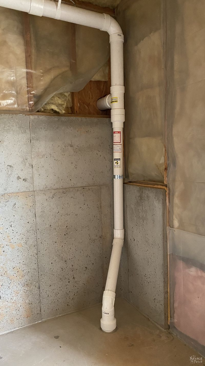 second collection pipe of a radon mitigation system