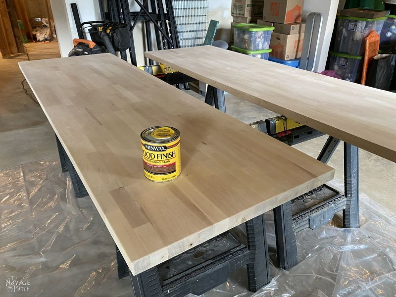 can of stain on a butcher block countertop for diy floating desk