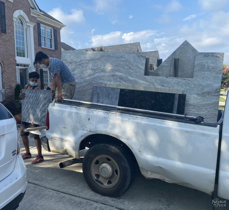 removing granite slabs from a truck