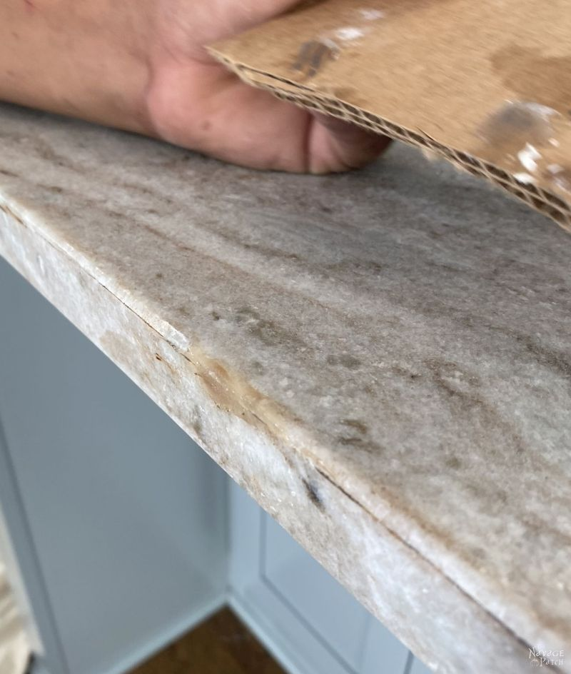 fixing a chip in a granite counter with epoxy