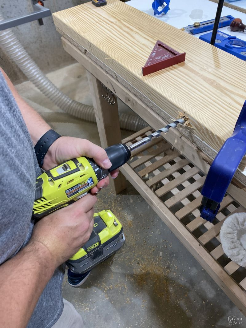 drilling a hole to for DIY floating shelves