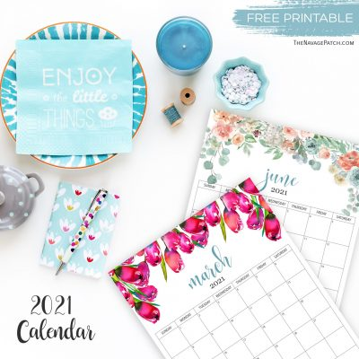 Free Printable Floral Calendar 2021 - TheNavagePatch.com