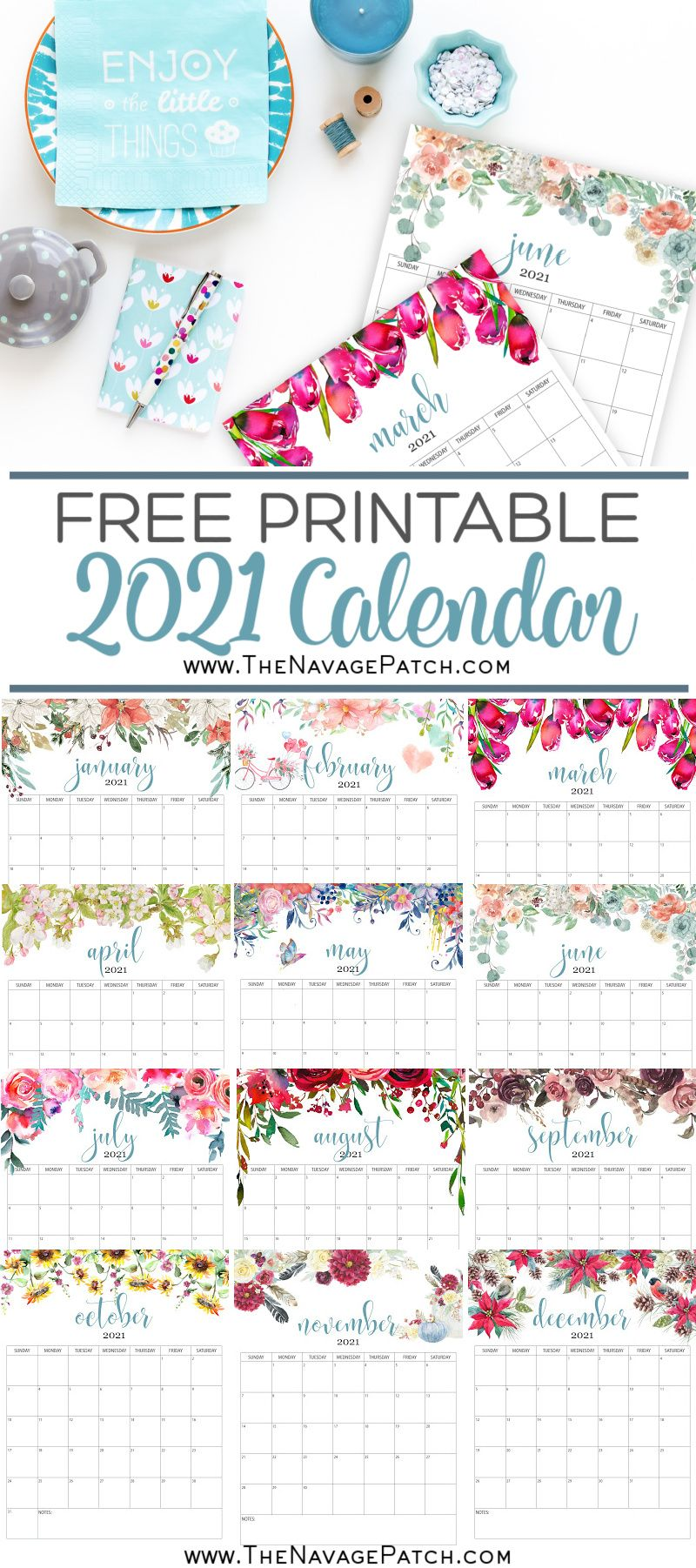 Free Printable Floral Calendar 2021 - The Navage Patch