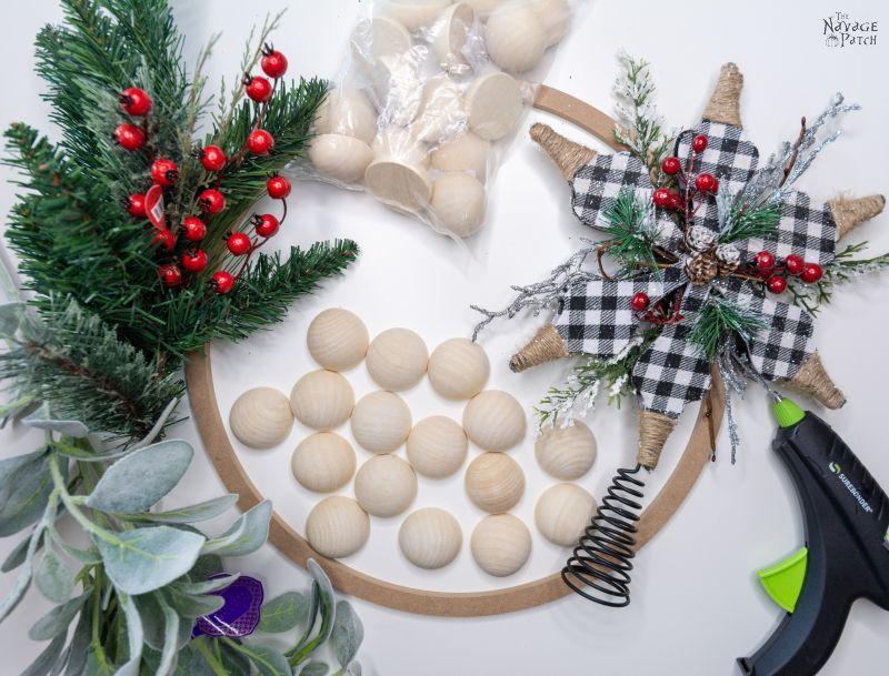 diy wood bead wreath supplies list