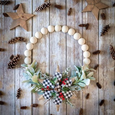 DIY Wood Bead Wreath - TheNavagePatch.com