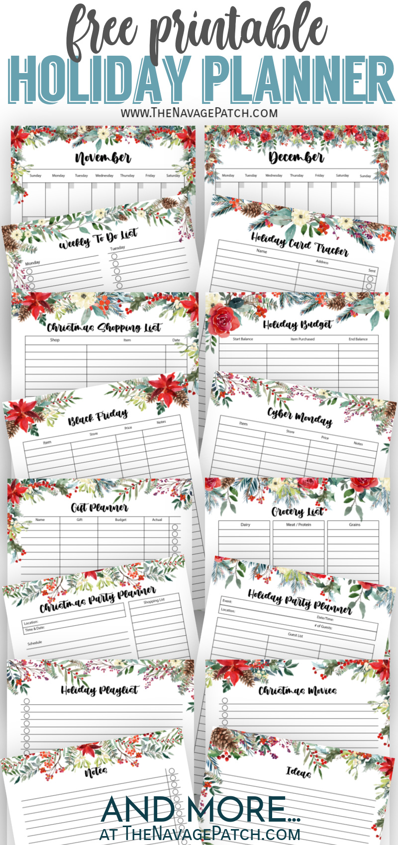 Free Printable Holiday Planner by TheNavagePatch.com