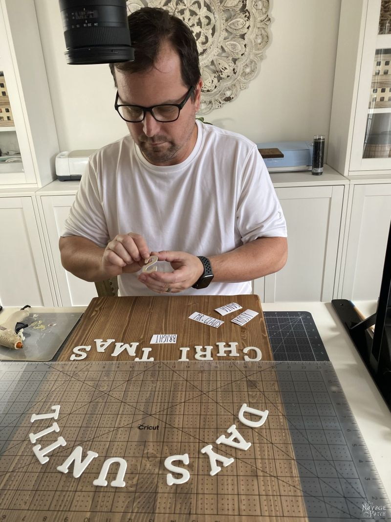 gluing wood letters to a board