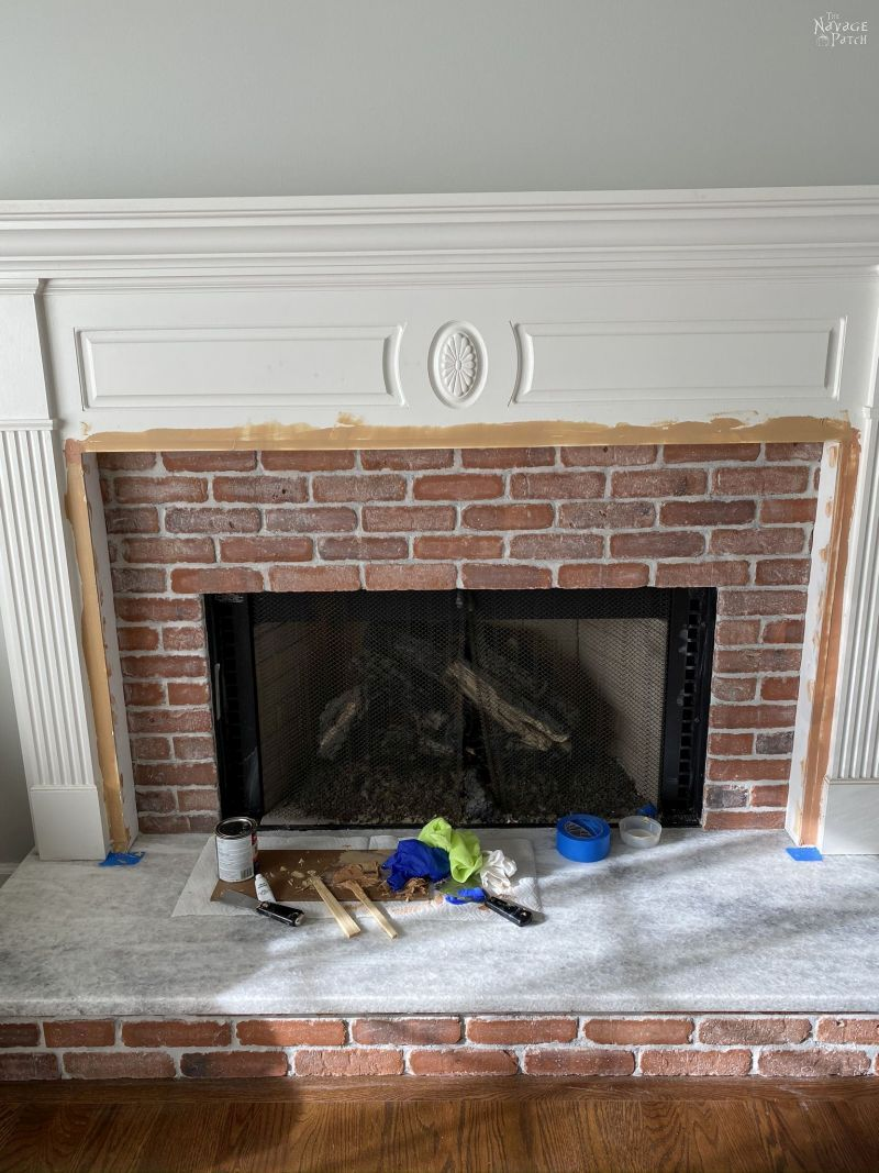 fireplace makeover in progress