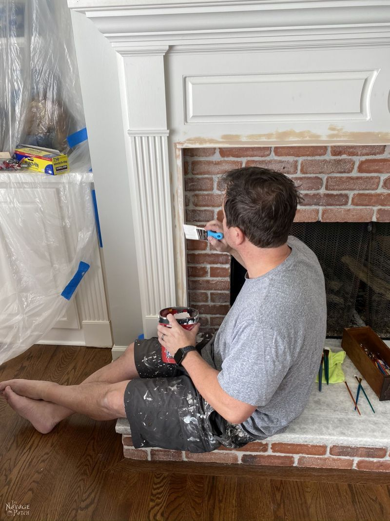 painting fireplace makeover