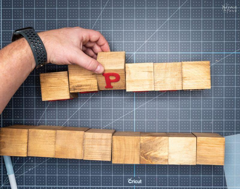 gluing letters on wood blocks