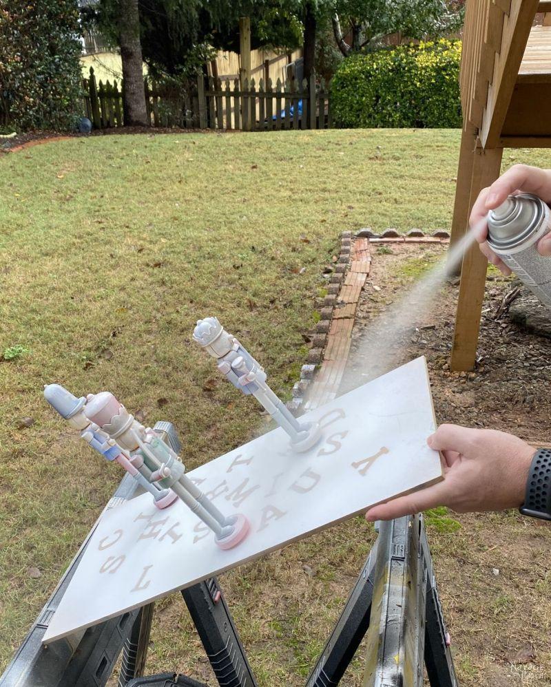 spray painting 3 nutcrackers